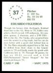 1976 SSPC #190  Ed Figueroa  Back Thumbnail