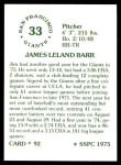 1976 SSPC #92  Jim Barr  Back Thumbnail