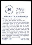 1976 SSPC #149  Nyls Nyman  Back Thumbnail