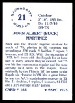1976 SSPC #165  Buck Martinez  Back Thumbnail