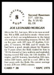 1976 SSPC #38  Joe Morgan  Back Thumbnail