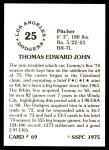 1976 SSPC #69  Tommy John  Back Thumbnail