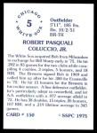 1976 SSPC #150  Bob Coluccio  Back Thumbnail