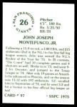 1976 SSPC #97  John Montefusco  Back Thumbnail
