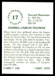 1976 SSPC #106  Derrel Thomas  Back Thumbnail