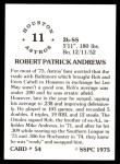 1976 SSPC #54  Rob Andrews  Back Thumbnail