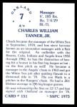 1976 SSPC #151  Chuck Tanner  Back Thumbnail
