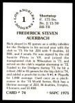 1976 SSPC #74  Rick Auerbach  Back Thumbnail
