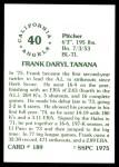 1976 SSPC #189  Frank Tanana  Back Thumbnail
