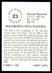 1976 SSPC #124  Tito Fuentes  Back Thumbnail