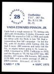 1976 SSPC #178  Vada Pinson  Back Thumbnail