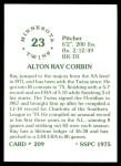 1976 SSPC #209  Ray Corbin  Back Thumbnail