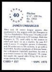 1976 SSPC #257  Jim Umbarger  Back Thumbnail