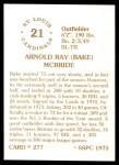 1976 SSPC #277  Bake McBride  Back Thumbnail
