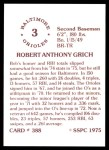 1976 SSPC #388  Bobby Grich  Back Thumbnail