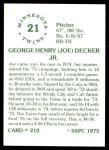 1976 SSPC #210  Joe Decker  Back Thumbnail