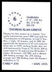 1976 SSPC #270  Tom Grieve  Back Thumbnail