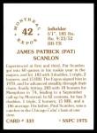 1976 SSPC #332  Pat Scanlon  Back Thumbnail