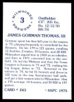 1976 SSPC #243  Gorman Thomas  Back Thumbnail