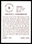 1976 SSPC #391  Tim Nordbrook  Back Thumbnail