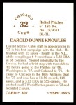 1976 SSPC #307  Darold Knowles  Back Thumbnail