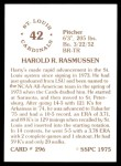 1976 SSPC #296  Harry Rasmussen  Back Thumbnail