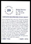 1976 SSPC #252  Steve Foucault  Back Thumbnail