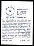 1976 SSPC #237  George Scott  Back Thumbnail
