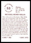 1976 SSPC #382  Mike Willis  Back Thumbnail