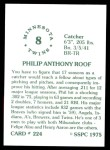 1976 SSPC #224  Phil Roof  Back Thumbnail