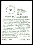 1976 SSPC #211  Jim Hughes  Back Thumbnail