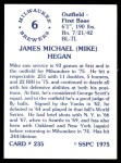 1976 SSPC #235  Mike Hegan  Back Thumbnail