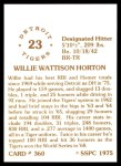 1976 SSPC #360  Willie Horton  Back Thumbnail
