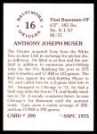 1976 SSPC #390  Tony Muser  Back Thumbnail