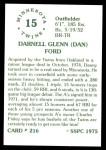 1976 SSPC #216  Dan Ford  Back Thumbnail