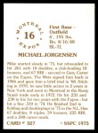 1976 SSPC #327  Mike Jorgensen  Back Thumbnail