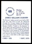 1976 SSPC #226  Jim Colborn  Back Thumbnail