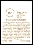 1976 SSPC #350  Dale Murray  Back Thumbnail