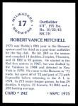1976 SSPC #242  Bob Mitchell  Back Thumbnail