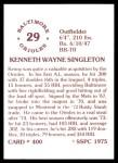 1976 SSPC #400  Ken Singleton  Back Thumbnail