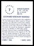 1976 SSPC #266  Lenny Randle  Back Thumbnail