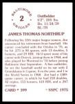 1976 SSPC #399  Jim Northrup  Back Thumbnail