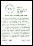 1976 SSPC #212  Ed Bane  Back Thumbnail