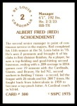 1976 SSPC #300  Red Schoendienst  Back Thumbnail