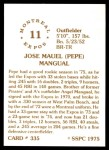 1976 SSPC #335  Pepe Mangual  Back Thumbnail