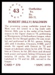 1976 SSPC #370  Billy Baldwin  Back Thumbnail