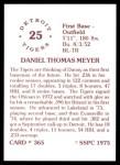 1976 SSPC #365  Dan Meyer  Back Thumbnail