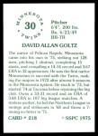 1976 SSPC #218  Dave Goltz  Back Thumbnail
