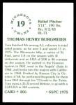 1976 SSPC #206  Tom Burgmeier  Back Thumbnail