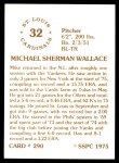 1976 SSPC #290  Mike Wallace  Back Thumbnail